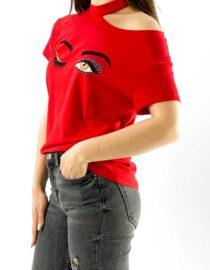 tricou damă roșu cu umăr gol imprimat,