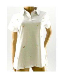 tricou damă polo mărime mare alb,
