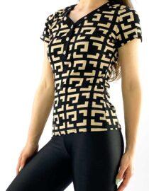 tricou damă negru cu decolteu în V și imprimeu geometric