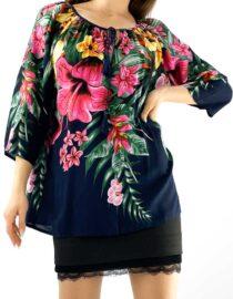 bluza damă bleumarin largă tip ie cu flori mari
