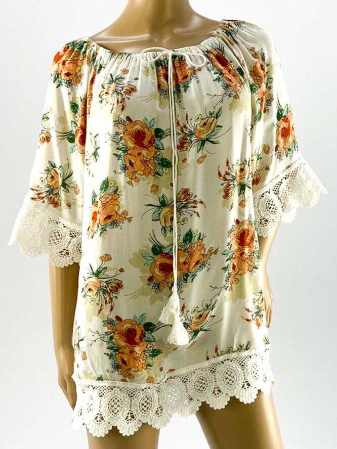 bluza damă albă largă cu flori și dantelă,