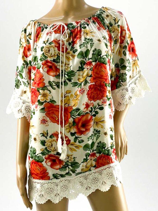 bluza damă roșie largă cu flori și dantelă,