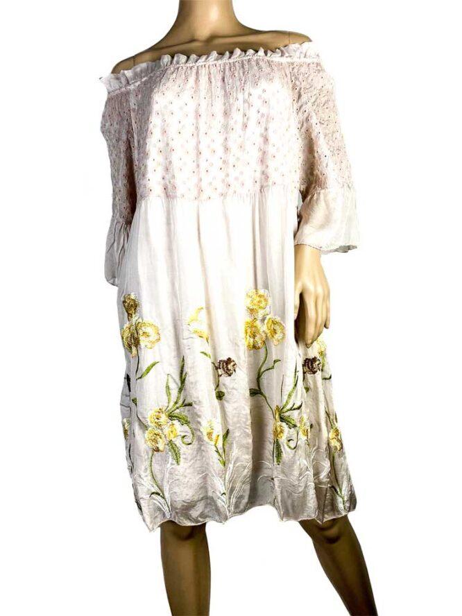 rochie damă beige din voal brodat