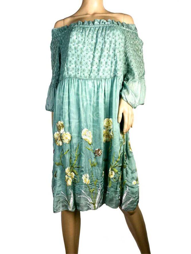 rochie damă verde din voal brodat