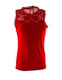 tricou damă tip maieu cu dantelă roșu