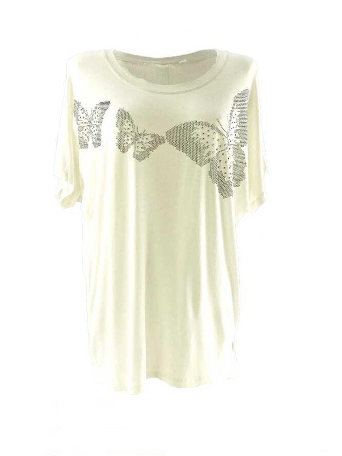 tricou damă alb larg cu fluturi și pietre