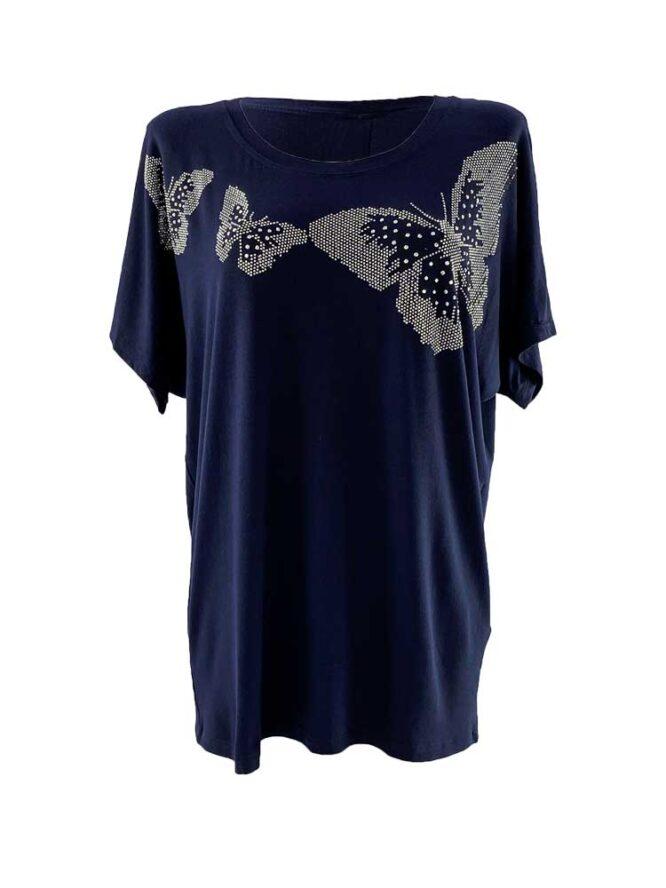 tricou damă bleumarin larg cu fluturi și pietre