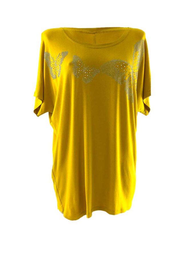 tricou damă galben muștar larg cu fluturi și pietre