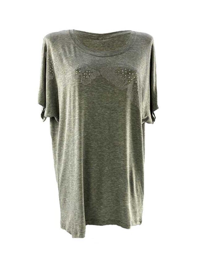 tricou damă gri larg cu fluturi și pietre