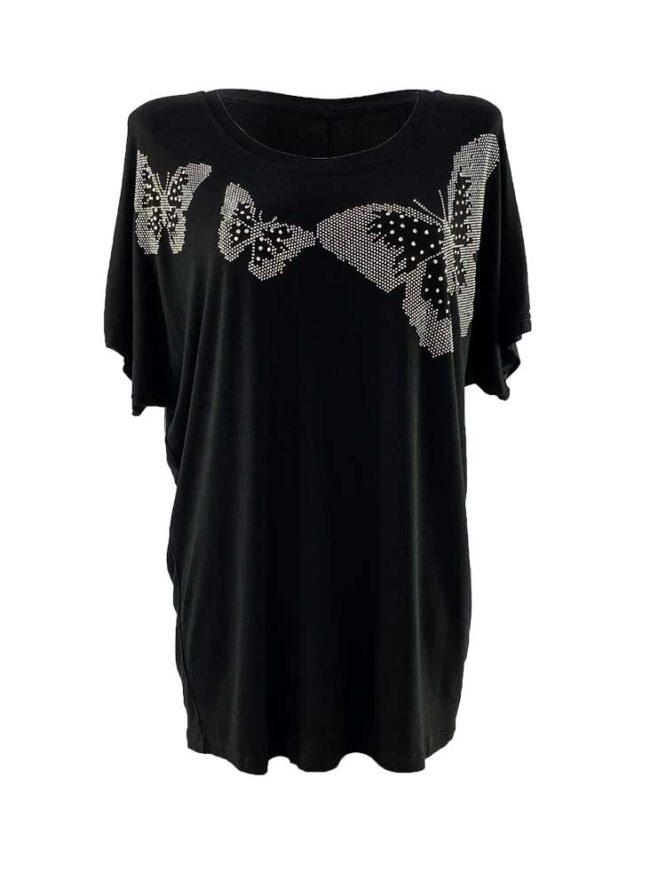 tricou damă negru larg cu fluturi și pietre