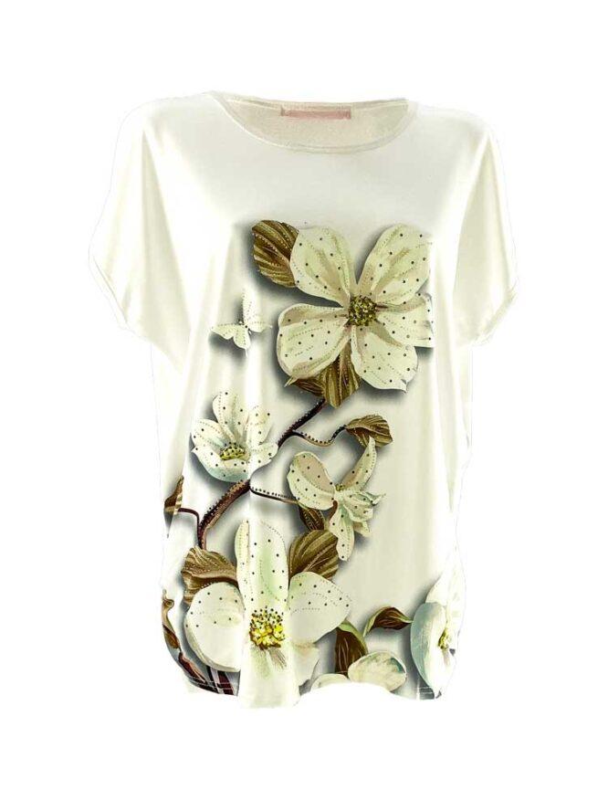 tricou damă alb larg cu flori din bumbac