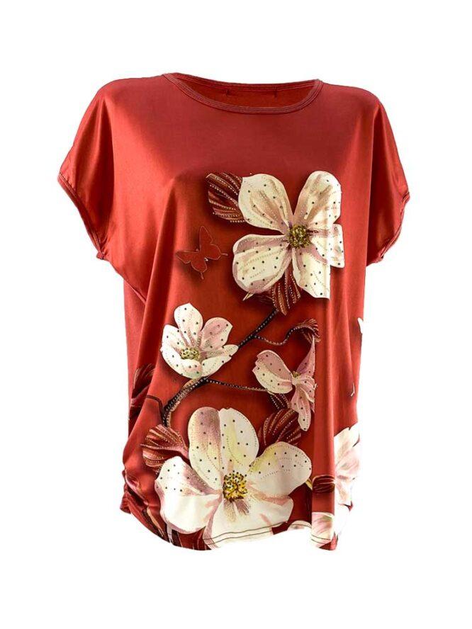 tricou damă cărămiziu larg cu flori din bumbac