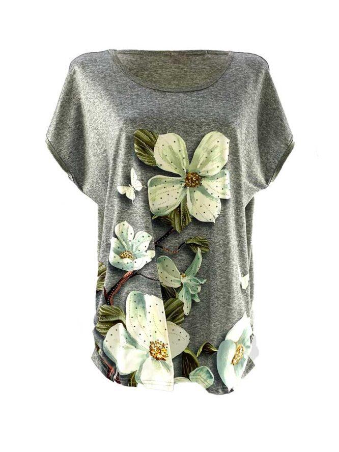 tricou damă gri larg cu flori din bumbac