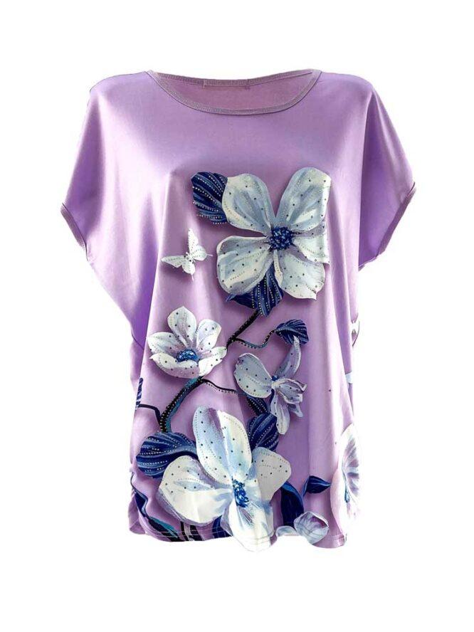 tricou damă mov larg cu flori din bumbac
