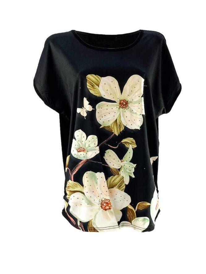 tricou damă negru larg cu flori din bumbac