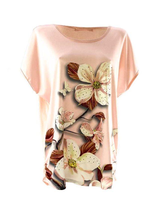 tricou damă roz larg cu flori din bumbac