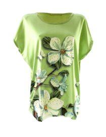 tricou damă verde larg cu flori din bumbac
