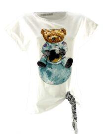 tricou damă alb asimetric cu ursuleț