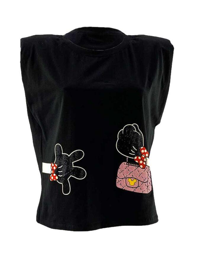 tricou damă negru cu pernuțe pe umeri