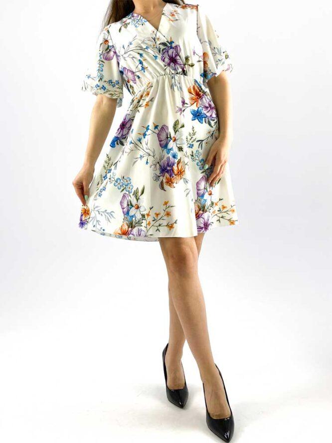 rochia damă midi albă cu imprimeu floral