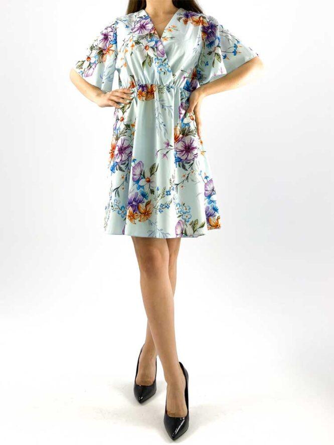 rochia damă midi albastră cu imprimeu floral