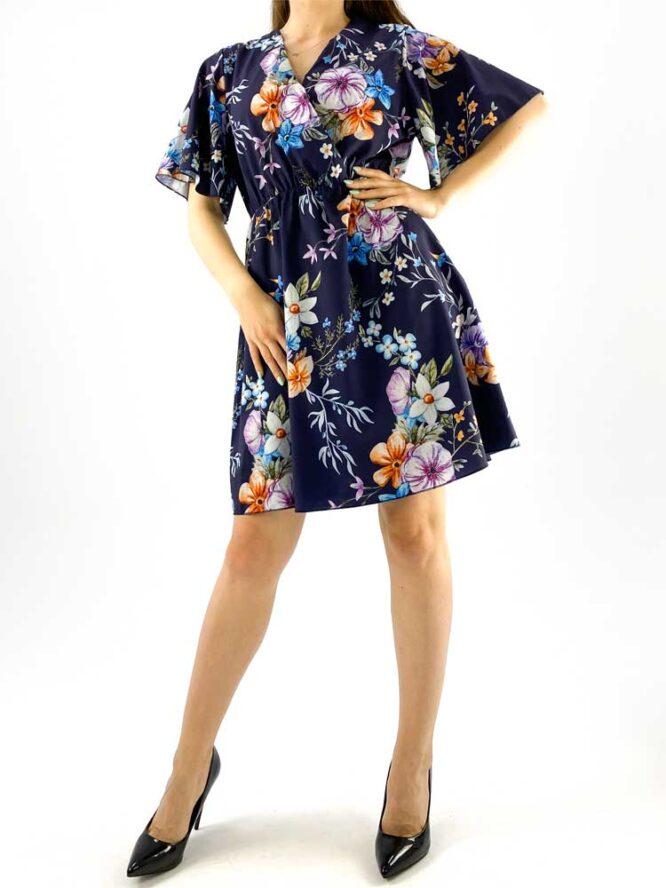rochia damă midi bleumarin cu imprimeu floral