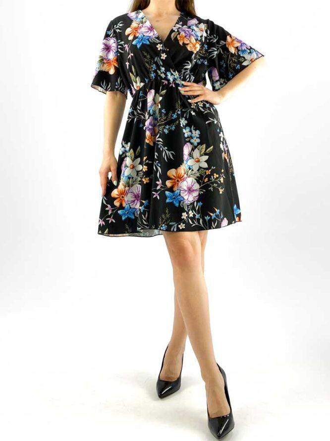 rochia damă midi neagră cu imprimeu floral