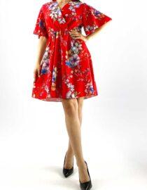rochia damă midi roșie cu imprimeu floral