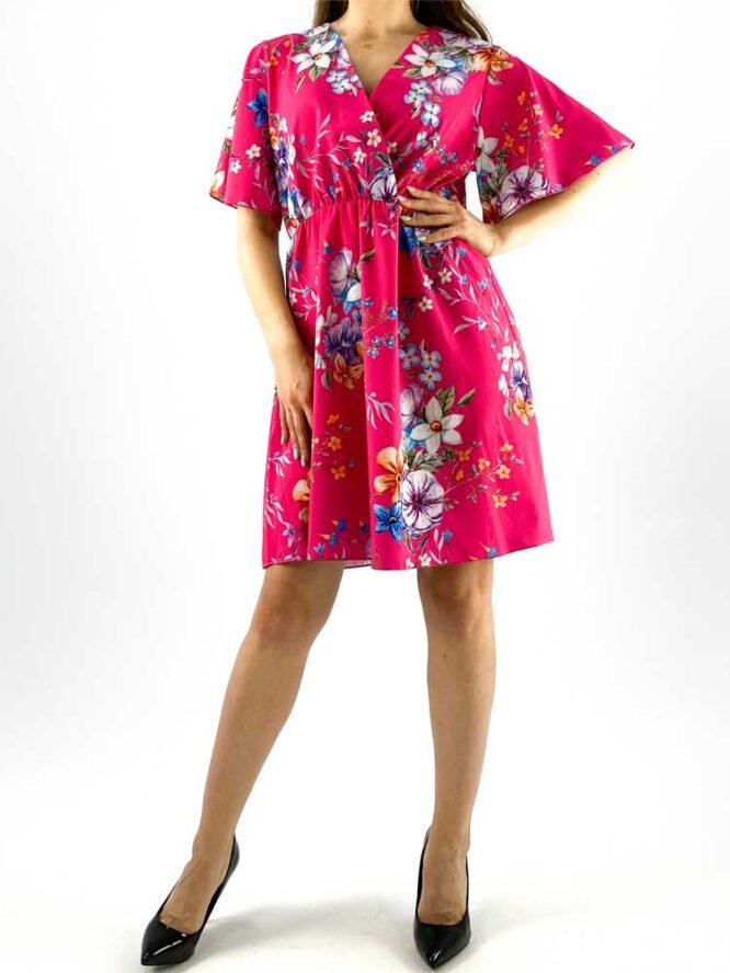 rochia damă midi roz cu imprimeu floral