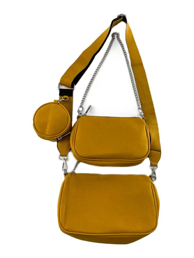 set genți galbene damă cu portofel