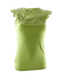 tricou damă fără mâneci cu dantelă verde
