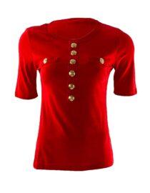 bluză damă roșie din bumbac cu mânecă trei sferturi