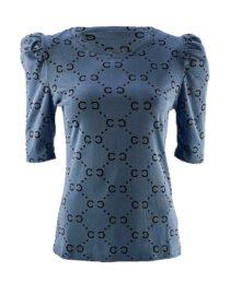 bluză damă albastră din bumbac cu imprimeu geometric