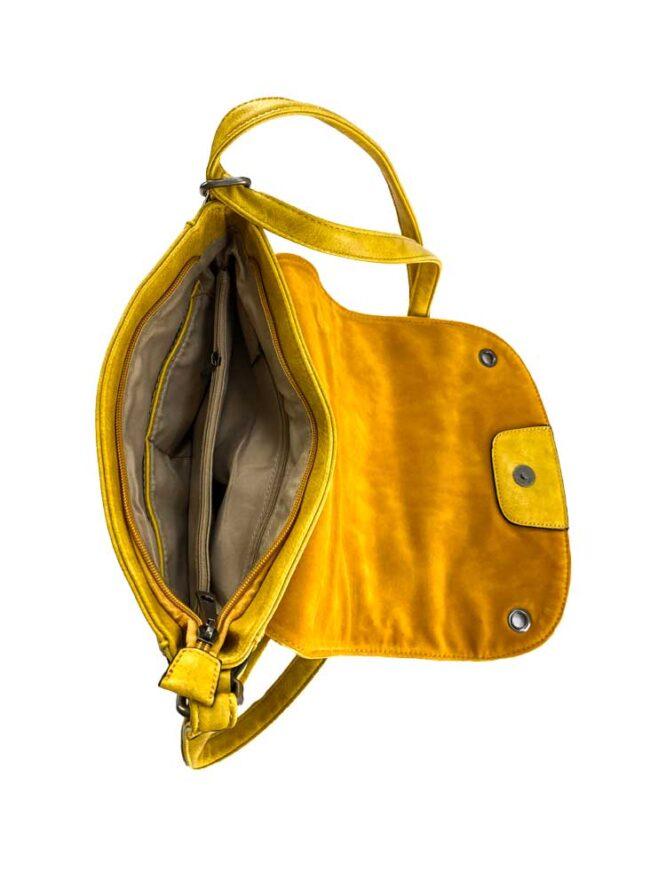 geantă damă galbenă de umăr cu capse