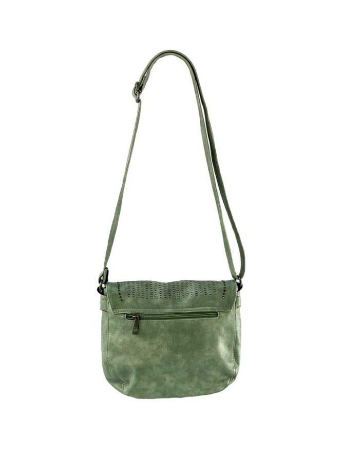 geantă damă verde de umăr cu capse