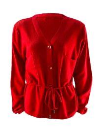 jachetă damă roșie din tricot cu snur în talie